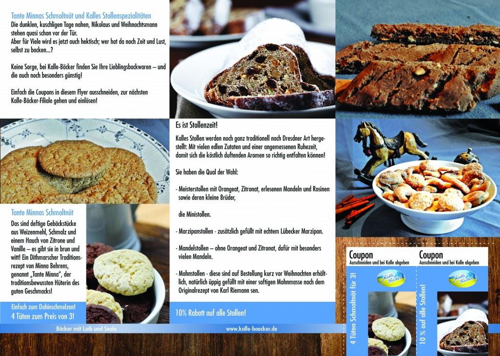 Kalle-Bäcker Weihnachtsflyer Rabatt, Schmoltnöt, Stollen, Rezepte