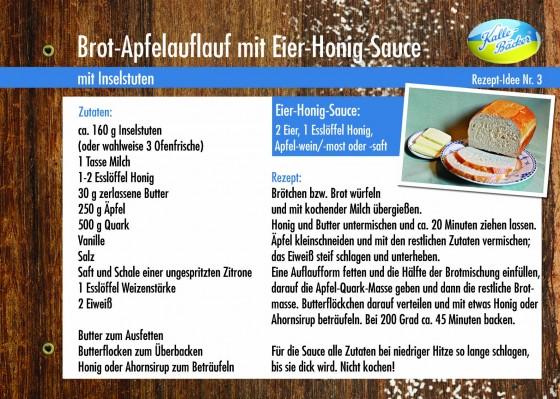 Rezepttipp Nr. 3: Brot-Apfel-Auflauf, Kalle-Bäcker, Inselstuten