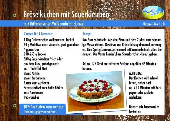Rezeptkarte Bröselkuchen mit Sauerkirschen, Kalle-Bäcker