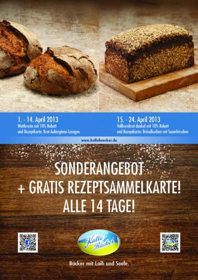 April Rezepttipps, Bröselkuchen, Brot-Auberginen-Lasagne, Kalle-Bäcker