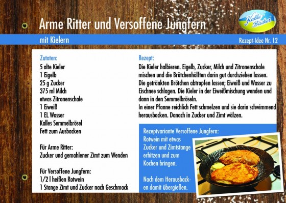 Arme Ritter, Versoffene Jungfern, Kalle-Bäcker, Karthäuserklöße, Rezepttipp Nr. 12, Rezeptkarte