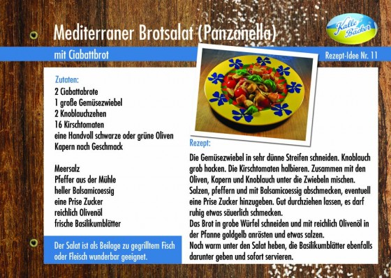 Mediterraner Brotsalat, Panzanella, Kalle-Bäcker, Rezepttipp, Rezeptkarte