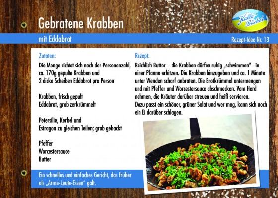 Gebratene Krabben, Rezepttipp Nr. 13, Kalle-Bäcker, Edda-Brot