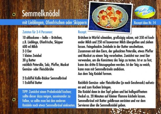 Semmelknödel, Rezepttipp Nr. 14, Kalle-Bäcker