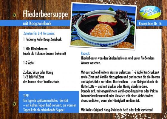 Rezeptkarte Fliederbeersuppe mit Kalles-Koogzwieback