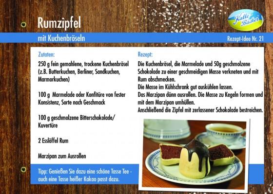Rezeptkarte Nr. 21 - Rumzipfel, Kalle-Bäcker