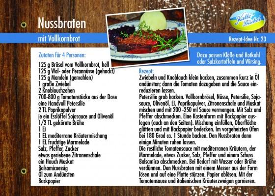 Rezeptkarte Nussbraten