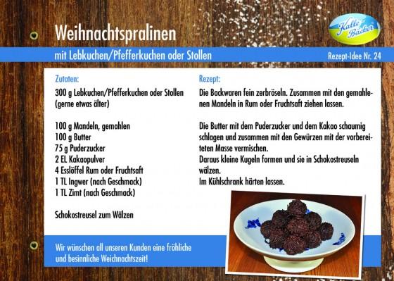 Rezeptkarte Nr. 24,  Weihnachtspralinen, Kalle-Bäcker, Rezepttipp, Weihnachtsbäckerei