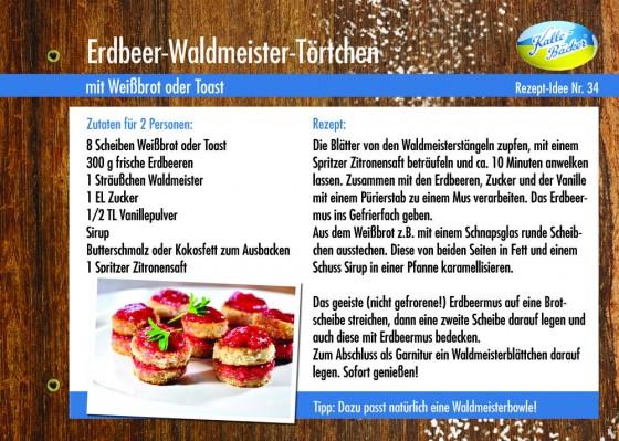 Rezeptkarte Erdbeer-Waldmeister-Törtchen